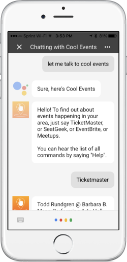 The Google Assistant Cool Events chat bot from BIG Little Apps